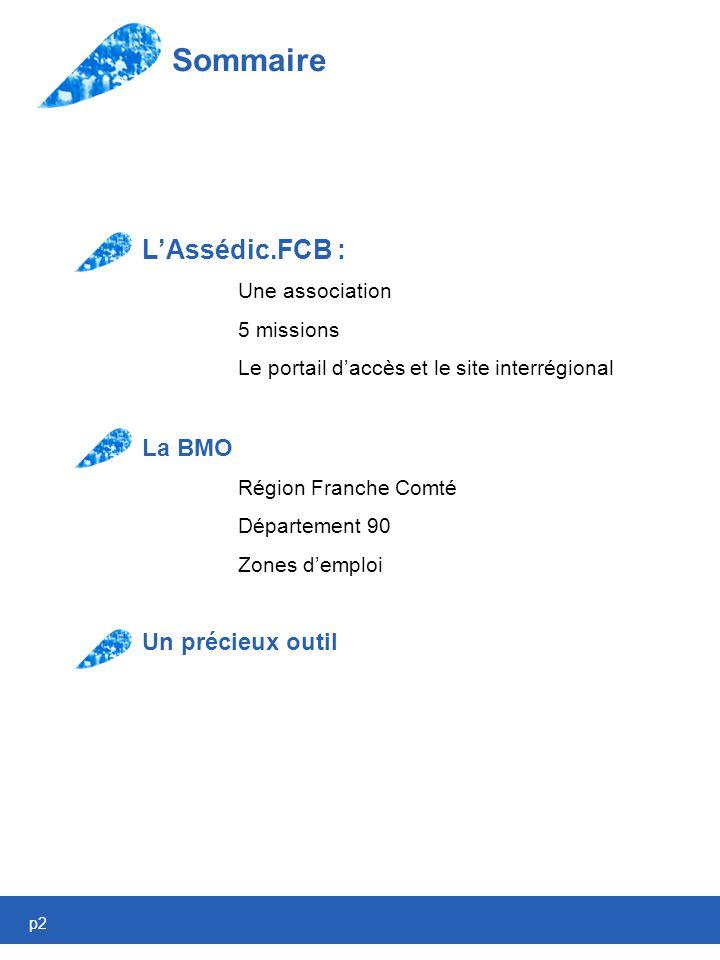 p2 Sommaire LAssédic.FCB : Une association 5 missions Le portail daccès et le site interrégional La BMO Région Franche Comté Département 90 Zones demploi Un précieux outil