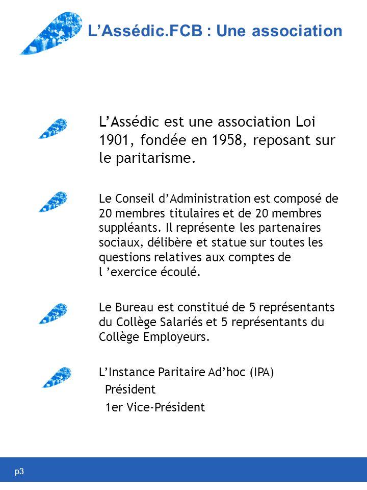 p3 LAssédic.FCB : Une association LAssédic est une association Loi 1901, fondée en 1958, reposant sur le paritarisme.