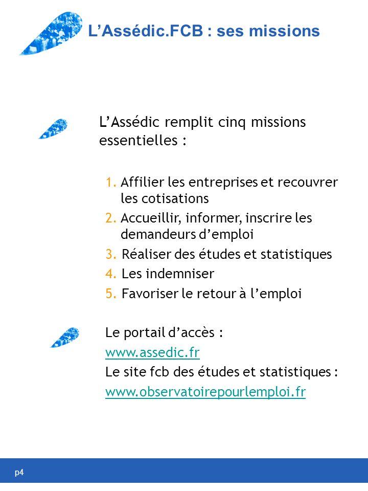 p4 LAssédic.FCB : ses missions LAssédic remplit cinq missions essentielles : 1.