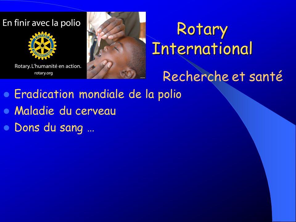 Rotary International Eradication mondiale de la polio Maladie du cerveau Dons du sang … Recherche et santé