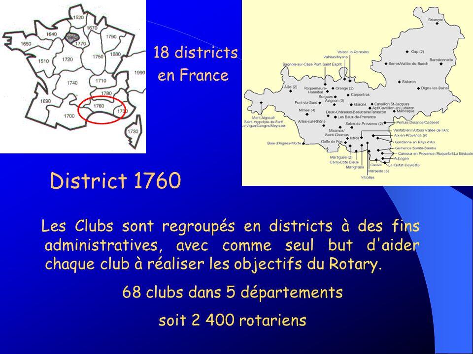 Les Clubs sont regroupés en districts à des fins administratives, avec comme seul but d'aider chaque club à réaliser les objectifs du Rotary. 68 clubs