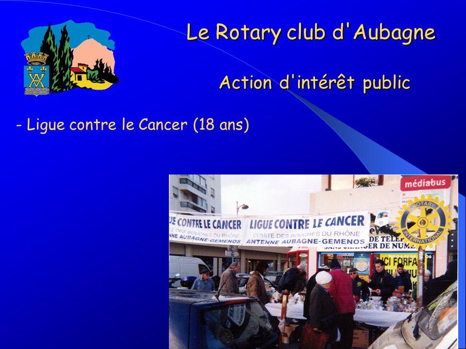 - Ligue contre le Cancer (18 ans) Le Rotary club d'Aubagne Action d'intérêt public