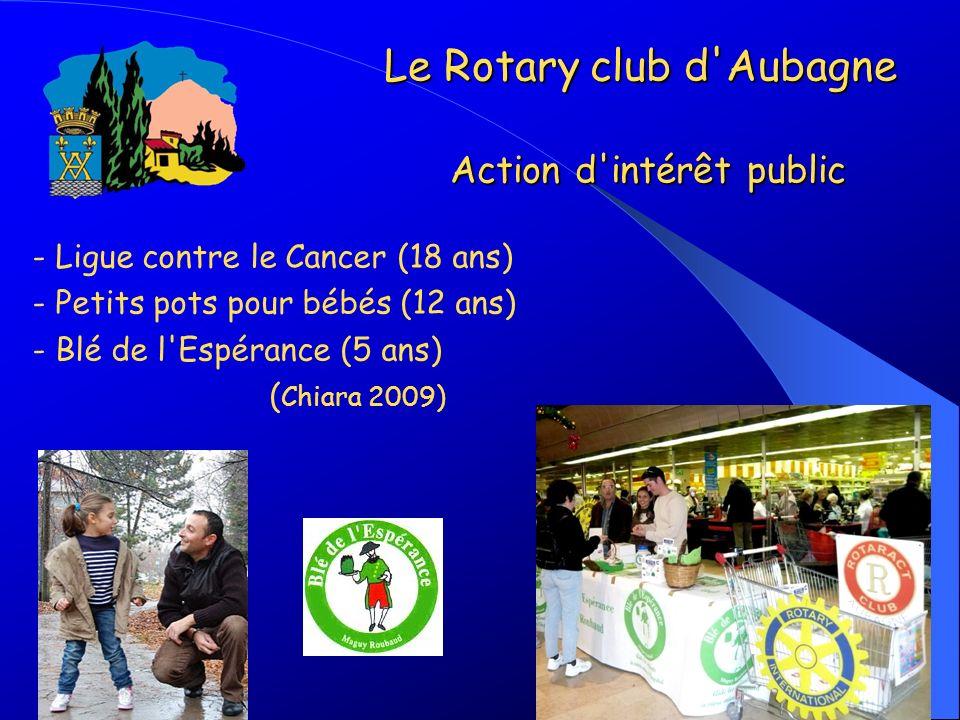 - Ligue contre le Cancer (18 ans) - Petits pots pour bébés (12 ans) - Blé de l'Espérance (5 ans) ( Chiara 2009) Le Rotary club d'Aubagne Action d'inté