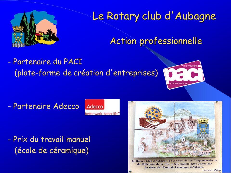 - Partenaire du PACI (plate-forme de création d'entreprises) - Partenaire Adecco - Prix du travail manuel (école de céramique) Le Rotary club d'Aubagn