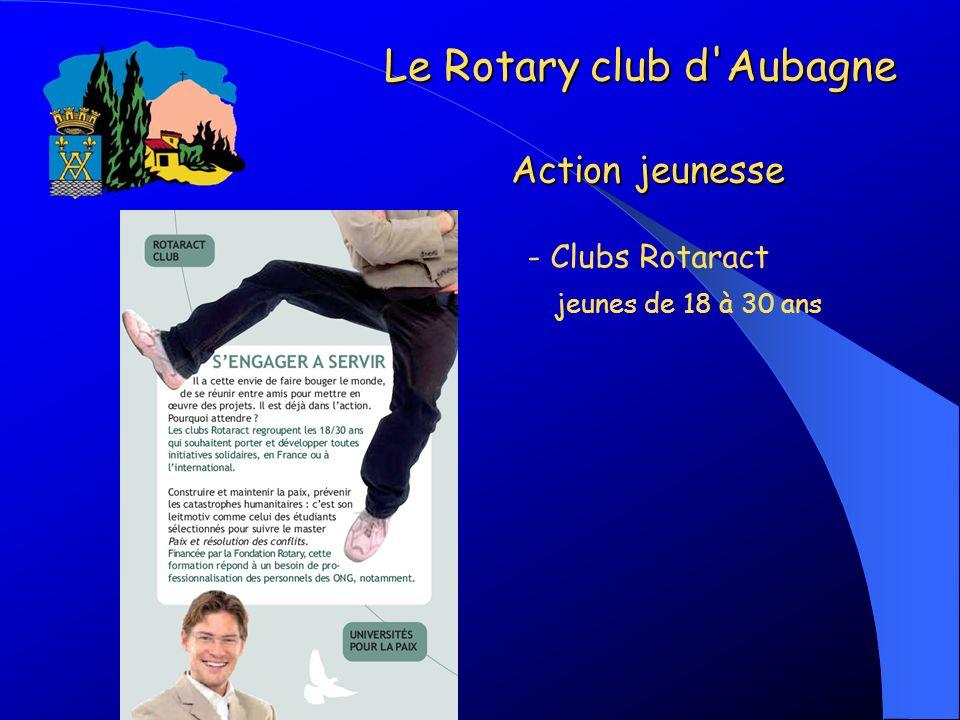 - Clubs Rotaract jeunes de 18 à 30 ans Le Rotary club d'Aubagne Action jeunesse