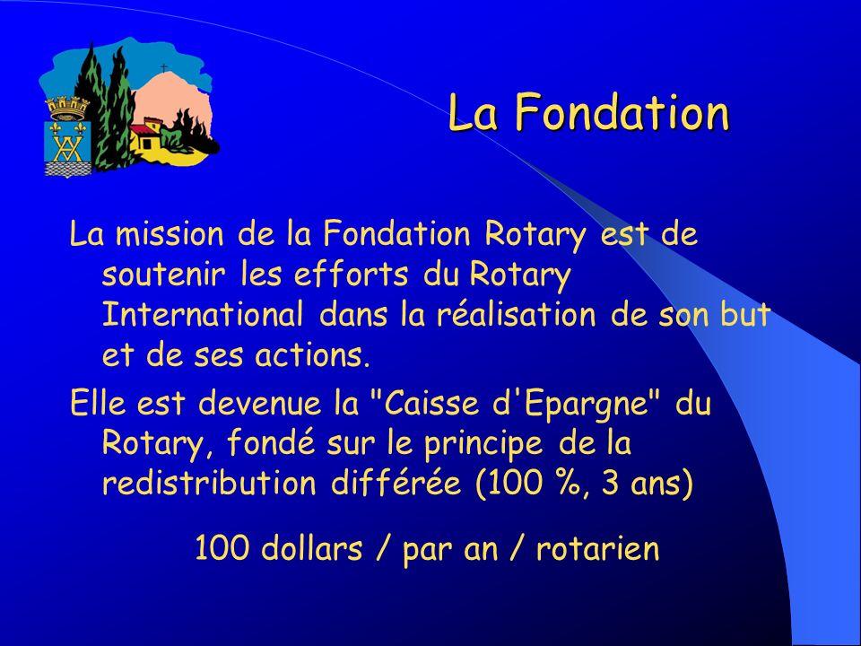 La Fondation La mission de la Fondation Rotary est de soutenir les efforts du Rotary International dans la réalisation de son but et de ses actions. E