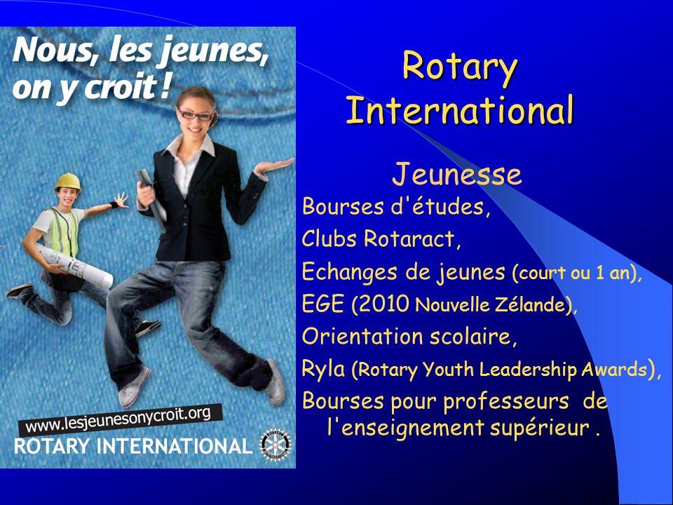 Rotary International Bourses d'études, Clubs Rotaract, Echanges de jeunes (court ou 1 an), EGE ( 2010 Nouvelle Zélande), Orientation scolaire, Ryla (R