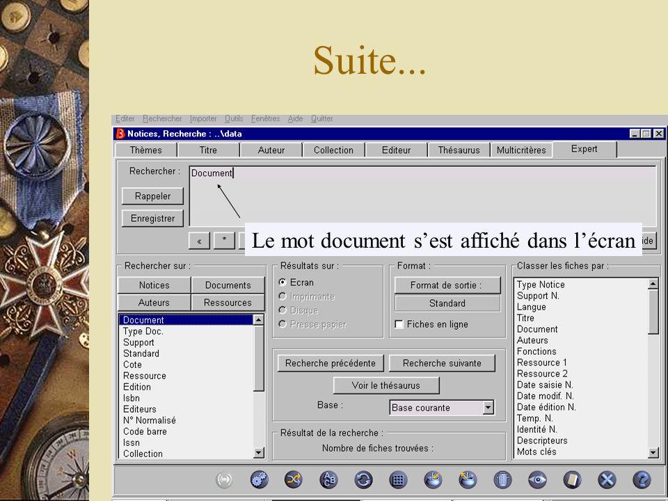 Si vous souhaitez faire une recherche sur un périodique précis, par exemple en Français lécole des lettres vous devez cliquer sur longlet expert, qui permet de faire une recherche sur un champ précis de la fiche document.