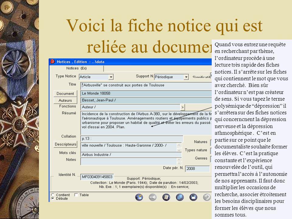 Le travail du doc dans la base de donnée renseigner les champs de la fiche document