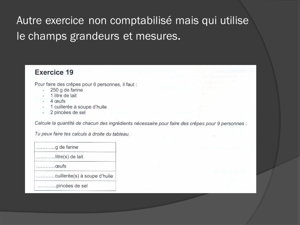 CONCLUSION Le champ de compétence « grandeurs et mesures », même sil nest pas explicitement évalué intervient dans presque tous les problèmes concrets ainsi que dans la plupart des exercices de géométrie.