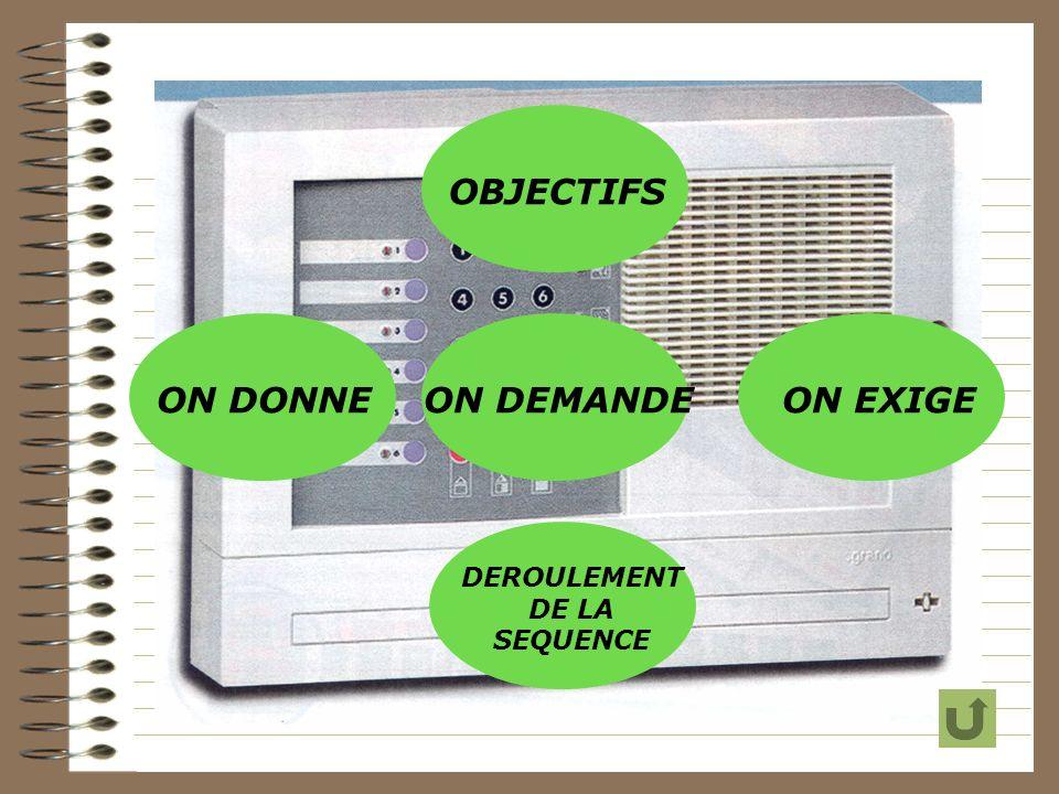OBJECTIFS ON DONNEON DEMANDEON EXIGE DEROULEMENT DE LA SEQUENCE