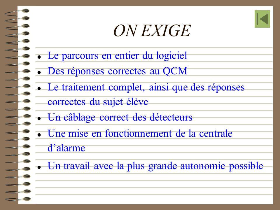 ON EXIGE Le parcours en entier du logiciel Le traitement complet, ainsi que des réponses correctes du sujet élève Des réponses correctes au QCM Un câb