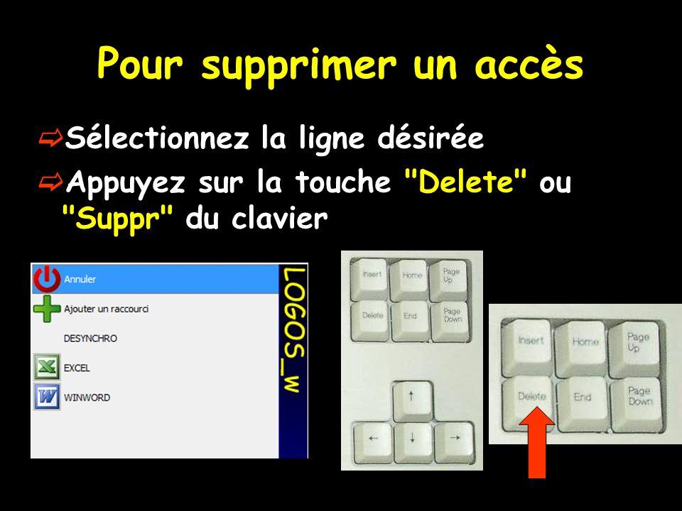 Pour supprimer un accès Sélectionnez la ligne désirée Appuyez sur la touche Delete ou Suppr du clavier