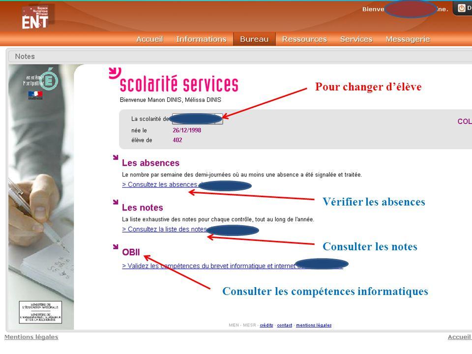 Pour changer délève Vérifier les absences Consulter les notes Consulter les compétences informatiques