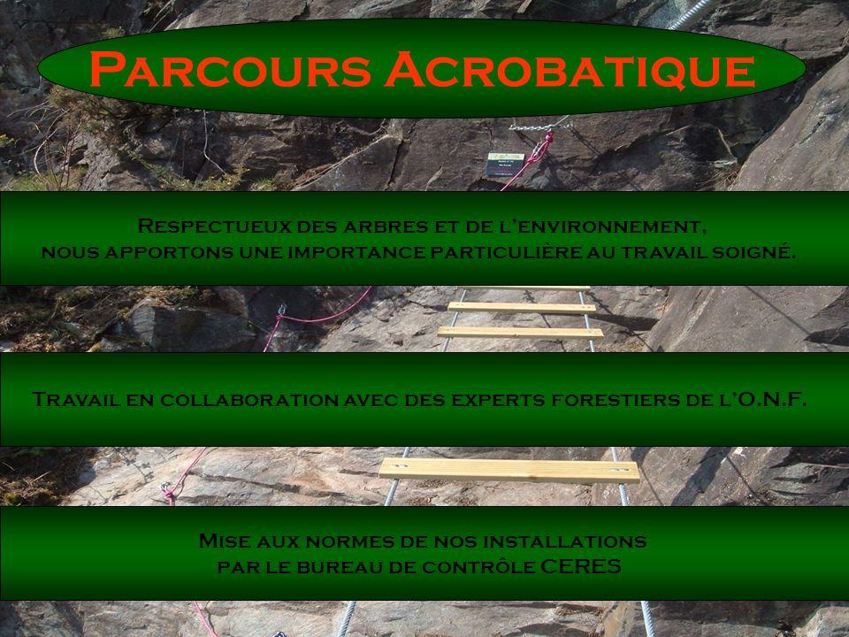 Parcours Acrobatique Respectueux des arbres et de lenvironnement, nous apportons une importance particulière au travail soigné. Travail en collaborati