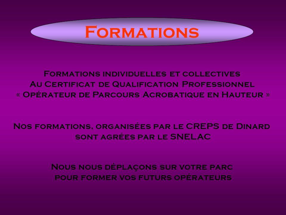 Formations Formations individuelles et collectives Au Certificat de Qualification Professionnel « Opérateur de Parcours Acrobatique en Hauteur » Nos f