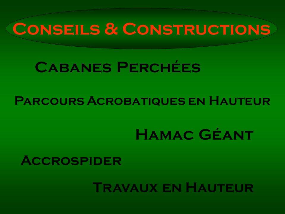 Cabanes Perchées Parcours Acrobatiques en Hauteur Hamac Géant Accrospider Travaux en Hauteur Conseils & Constructions