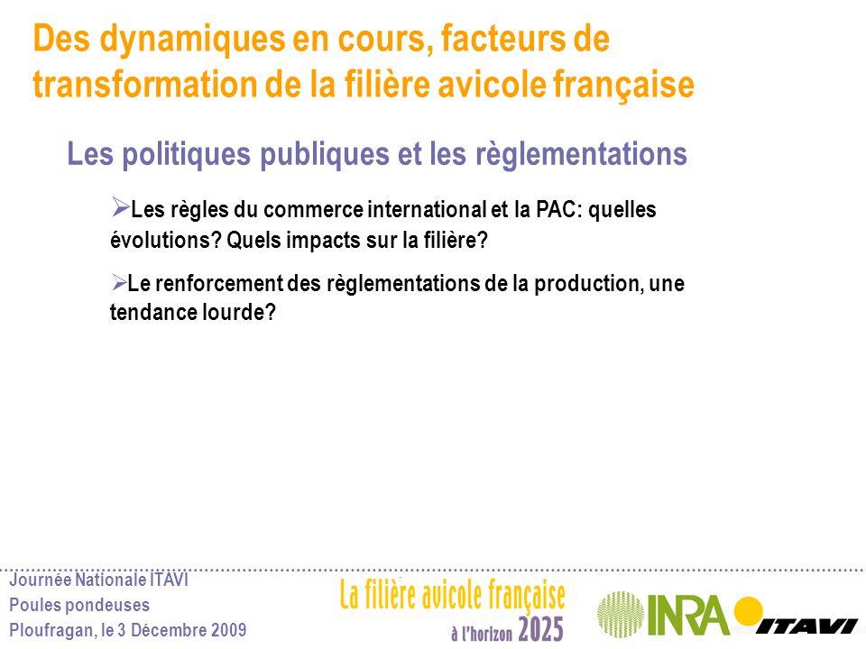 Journée Nationale ITAVI Poules pondeuses Ploufragan, le 3 Décembre 2009 Des dynamiques en cours, facteurs de transformation de la filière avicole fran