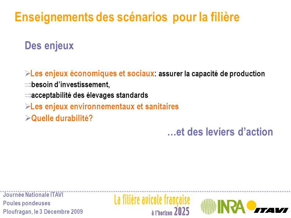Journée Nationale ITAVI Poules pondeuses Ploufragan, le 3 Décembre 2009 Enseignements des scénarios pour la filière Des enjeux Les enjeux économiques