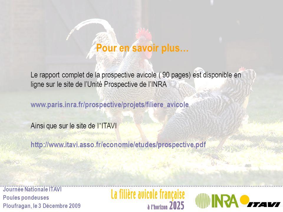 Journée Nationale ITAVI Poules pondeuses Ploufragan, le 3 Décembre 2009 Pour en savoir plus… Le rapport complet de la prospective avicole ( 90 pages)