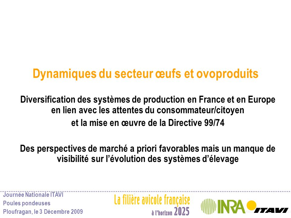 Journée Nationale ITAVI Poules pondeuses Ploufragan, le 3 Décembre 2009 Dynamiques du secteur œufs et ovoproduits Diversification des systèmes de prod