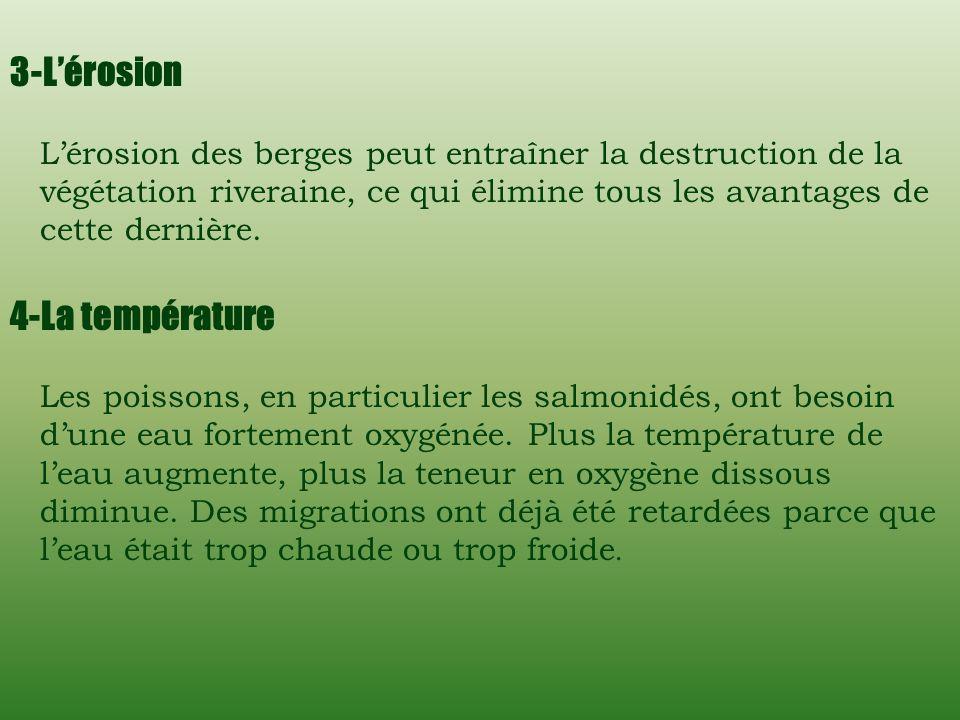 2-La sédimentation (turbidité) Lagitation de particules qui brouillent leau causée par les sédiments se nomme turbidité. La turbidité emmène plusieurs