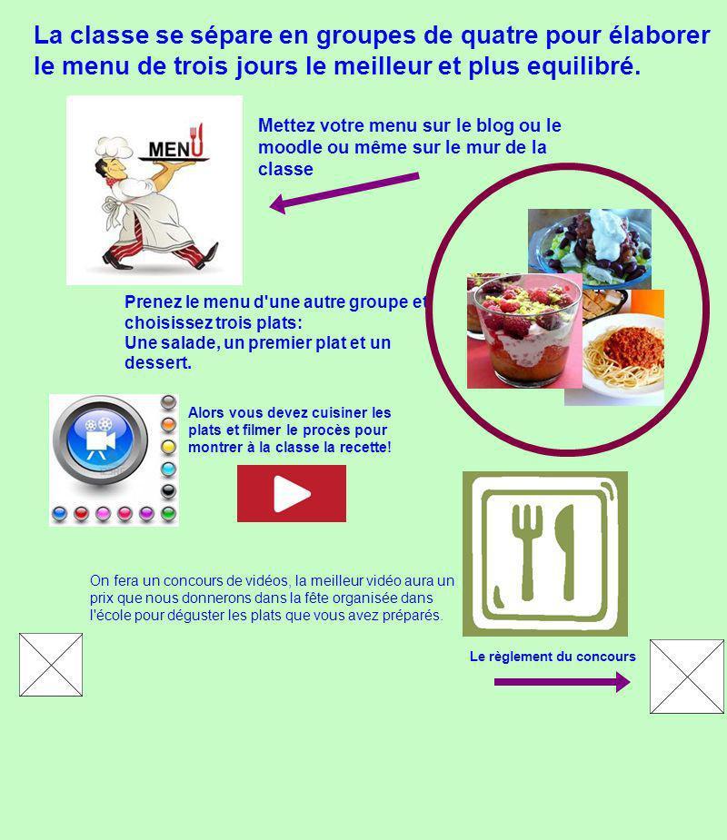 Prenez le menu d une autre groupe et choisissez trois plats: Une salade, un premier plat et un dessert.