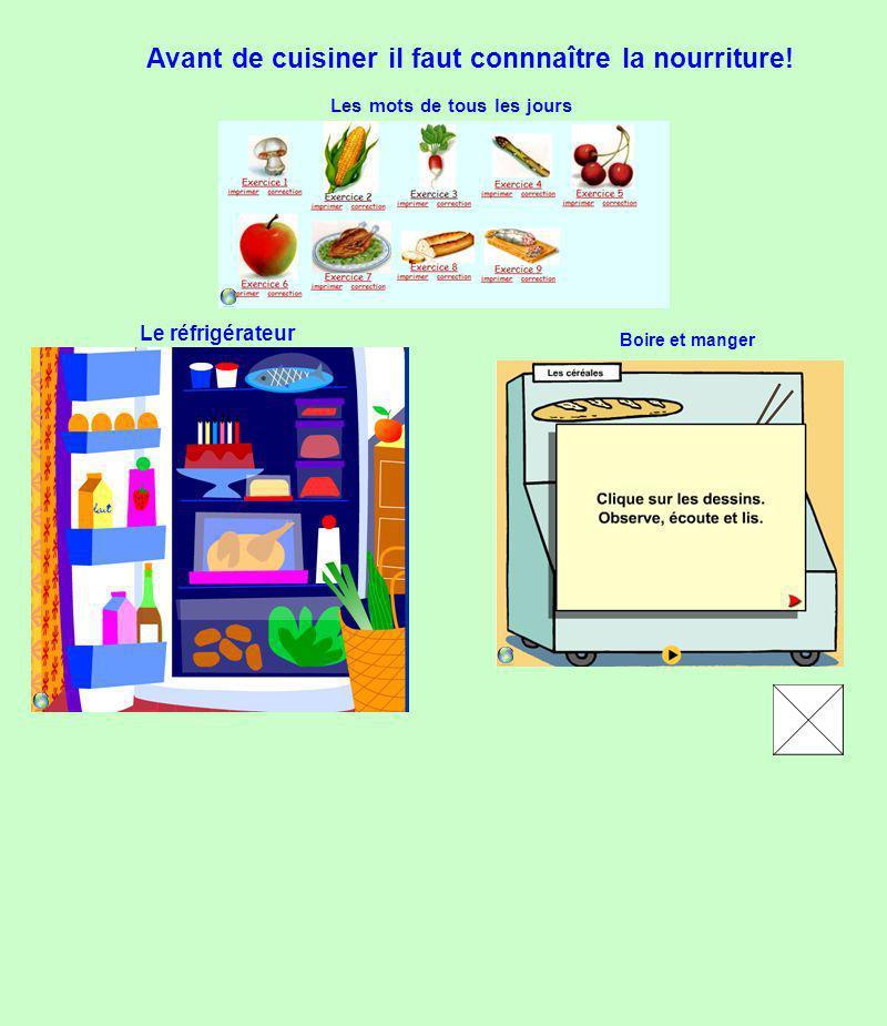 Le réfrigérateur Les mots de tous les jours Avant de cuisiner il faut connnaître la nourriture! Boire et manger