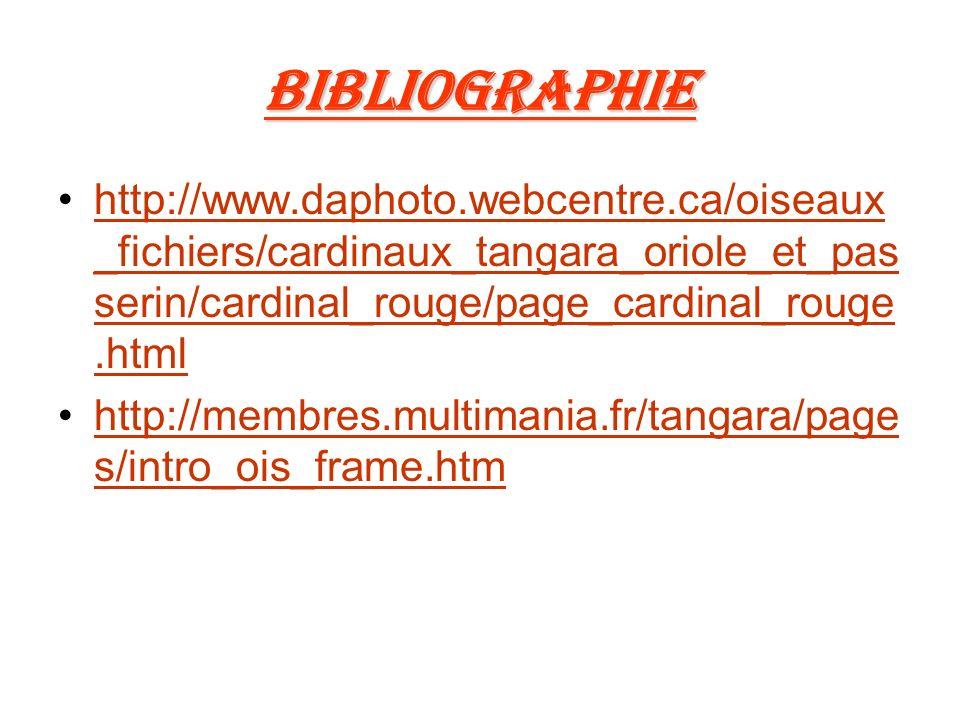 Bibliographie http://www.daphoto.webcentre.ca/oiseaux _fichiers/cardinaux_tangara_oriole_et_pas serin/cardinal_rouge/page_cardinal_rouge.htmlhttp://www.daphoto.webcentre.ca/oiseaux _fichiers/cardinaux_tangara_oriole_et_pas serin/cardinal_rouge/page_cardinal_rouge.html http://membres.multimania.fr/tangara/page s/intro_ois_frame.htmhttp://membres.multimania.fr/tangara/page s/intro_ois_frame.htm
