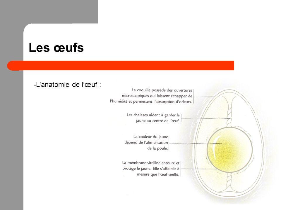Les œufs -Le blanc : -30 mL de blanc dans un œuf en moyenne -90 % deau et 10 % de protéines (ovalbumine majoritairement) -Protéines -> mousser, épaissir, solidifier -La quantité de blanc liquide est un indice de fraîcheur -Le jaune : -15 mL de jaune dans un œuf en moyenne -33 % de matière grasse, 17 % de protéines et deau -Matière grasse -> émulsions (lécithine)