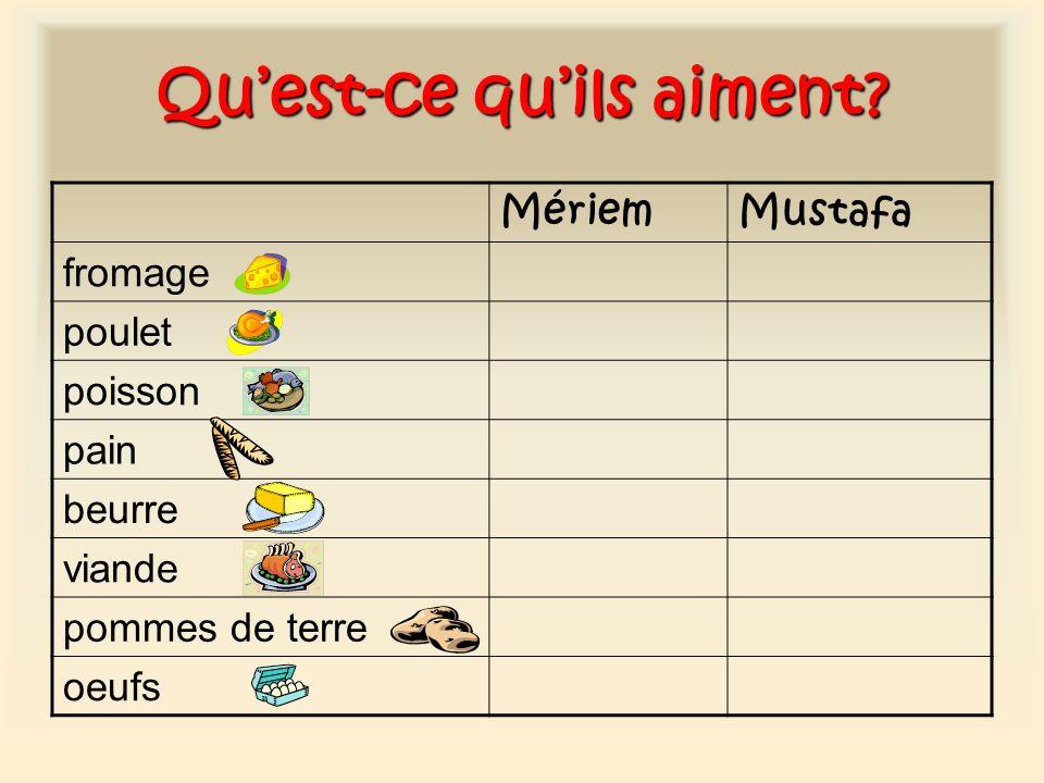 Quest-ce quils aiment? MériemMustafa fromage poulet poisson pain beurre viande pommes de terre oeufs