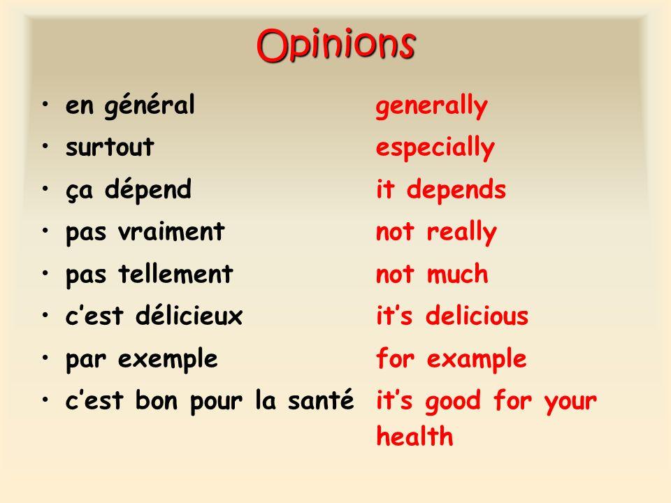 Opinions en généralgenerally surtout especially ça dépendit depends pas vraimentnot really pas tellementnot much cest délicieuxits delicious par exemp