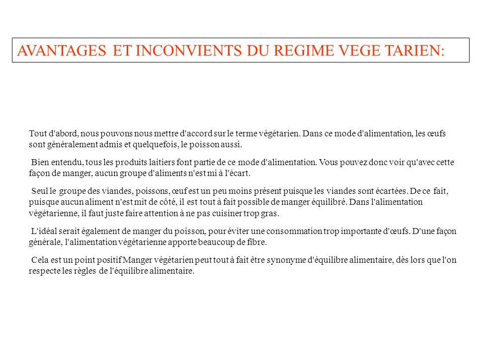 AVANTAGES ET INCONVIENTS DU REGIME VEGE TARIEN: Tout d'abord, nous pouvons nous mettre d'accord sur le terme végétarien. Dans ce mode d'alimentation,