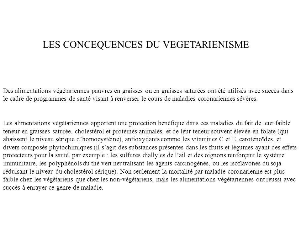 LES CONCEQUENCES DU VEGETARIENISME Des alimentations végétariennes pauvres en graisses ou en graisses saturées ont été utilisés avec succès dans le ca