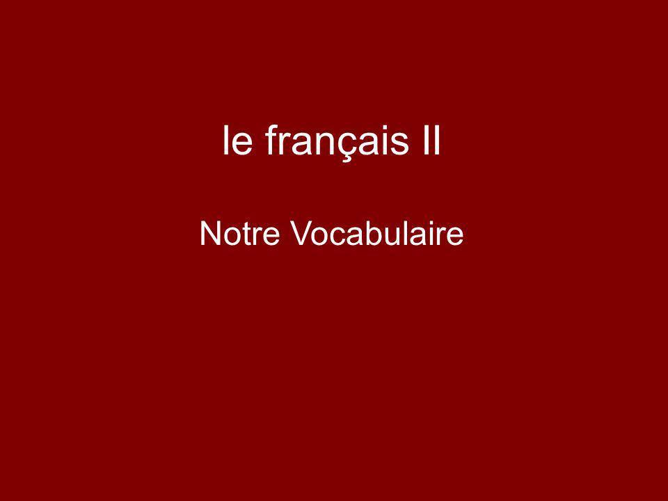 le français II Notre Vocabulaire