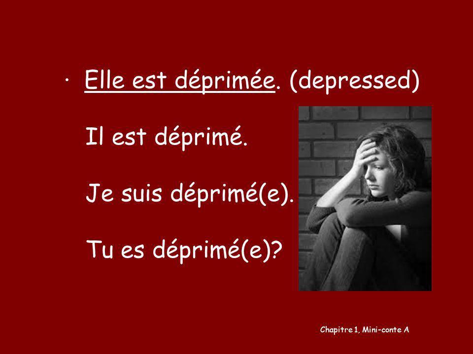 Elle est déprimée. (depressed) Il est déprimé. Je suis déprimé(e). Tu es déprimé(e)? Chapitre 1, Mini-conte A