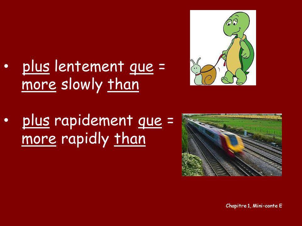 plus lentement que = more slowly than plus rapidement que = more rapidly than Chapitre 1, Mini-conte E