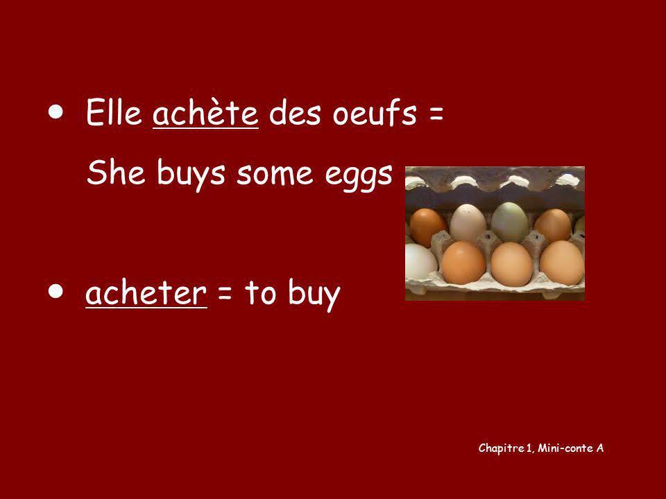 Chapitre 1, Mini-conte A Elle achète des oeufs = She buys some eggs acheter = to buy