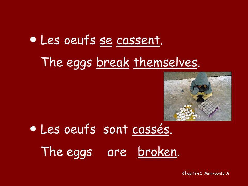 Les oeufs se cassent. The eggs break themselves. Les oeufs sont cassés. The eggs are broken. Chapitre 1, Mini-conte A