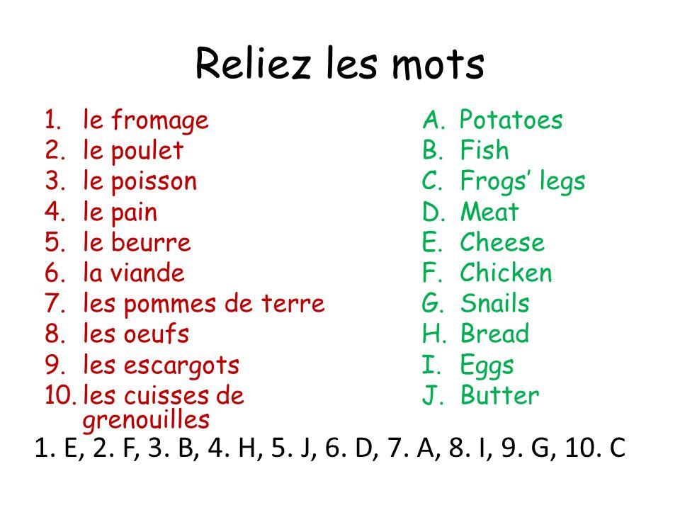 Reliez les mots 1.le fromage 2.le poulet 3.le poisson 4.le pain 5.le beurre 6.la viande 7.les pommes de terre 8.les oeufs 9.les escargots 10.les cuisses de grenouilles A.Potatoes B.Fish C.Frogs legs D.Meat E.Cheese F.Chicken G.Snails H.Bread I.Eggs J.Butter 1.