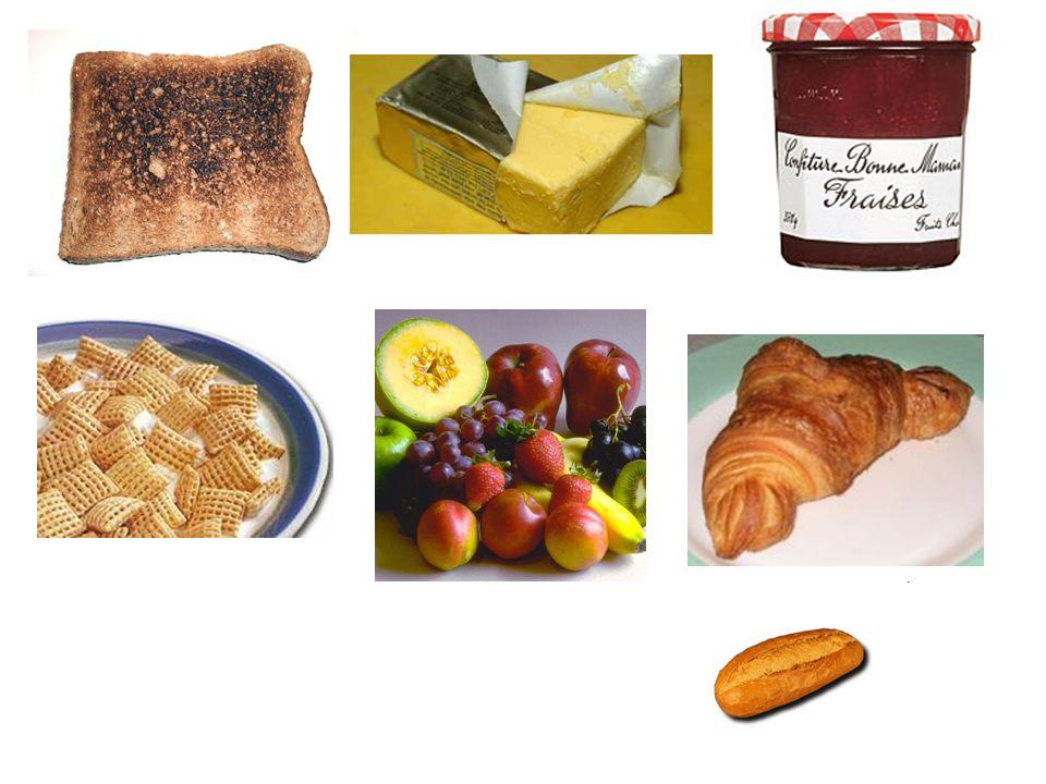 Quest-ce que cest? 1.des céréales 2.des fruits 3.du beurre 4.de la confiture 5.du pain grillé 6.un petit pain 7.un croissant A.cereal B.fruit C.butter
