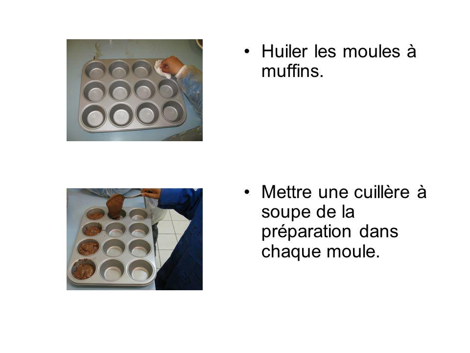 Huiler les moules à muffins. Mettre une cuillère à soupe de la préparation dans chaque moule.