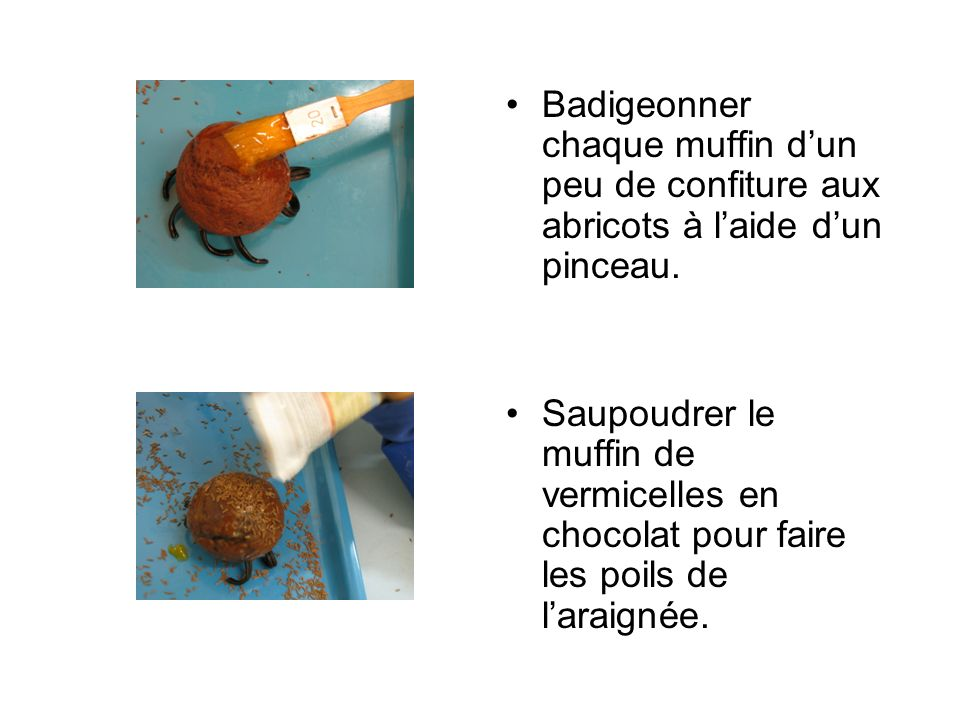 Badigeonner chaque muffin dun peu de confiture aux abricots à laide dun pinceau.
