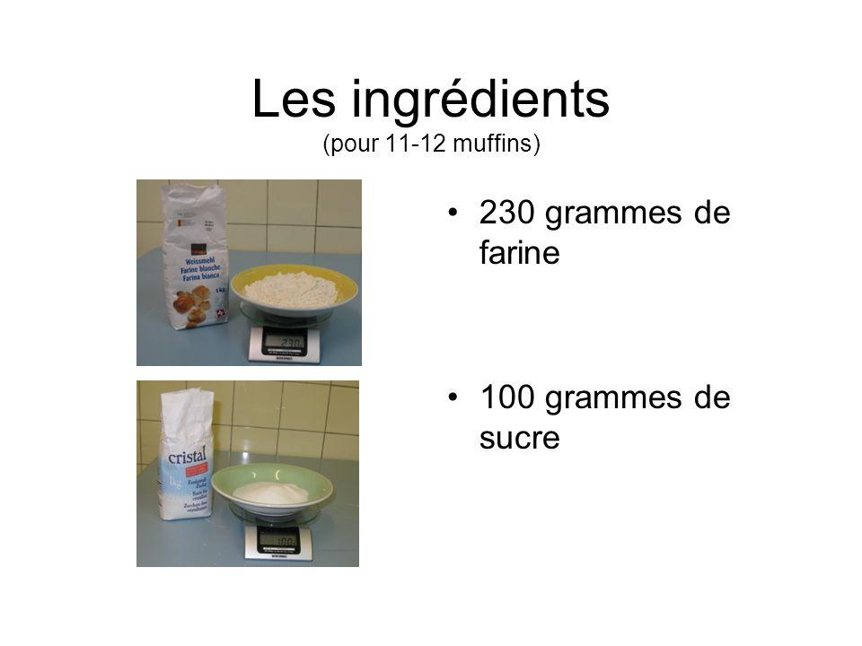 Les ingrédients (pour 11-12 muffins) 230 grammes de farine 100 grammes de sucre