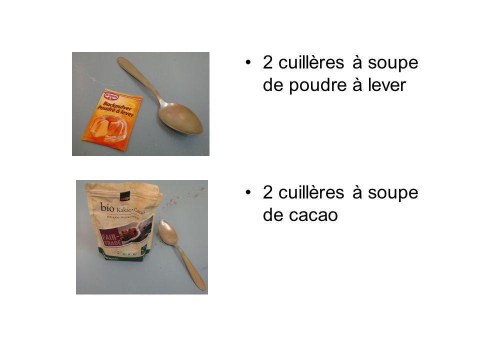 2 cuillères à soupe de poudre à lever 2 cuillères à soupe de cacao