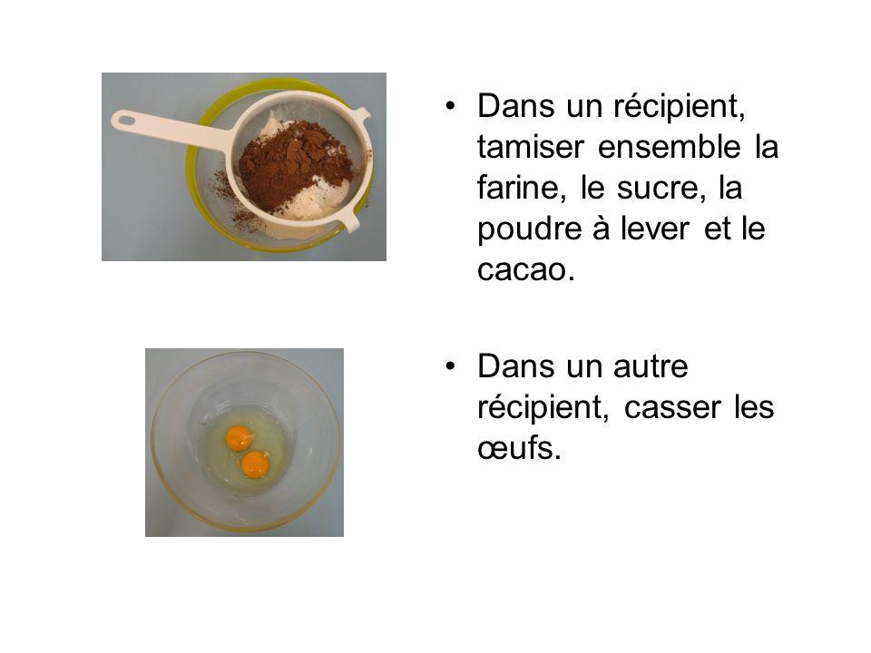 Dans un récipient, tamiser ensemble la farine, le sucre, la poudre à lever et le cacao.