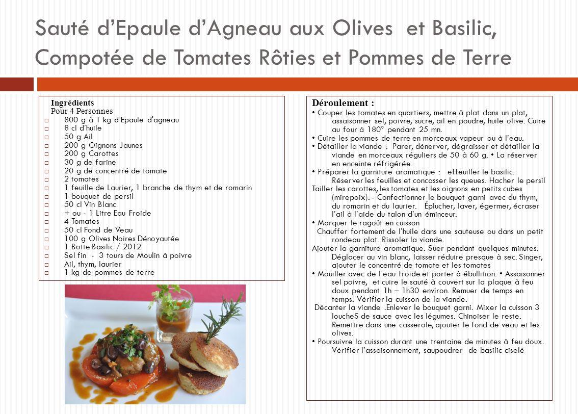 Sauté dEpaule dAgneau aux Olives et Basilic, Compotée de Tomates Rôties et Pommes de Terre Ingrédients Pour 4 Personnes 800 g à 1 kg dEpaule d'agneau