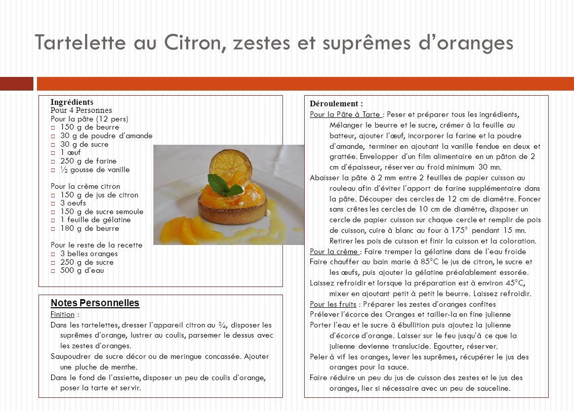 Tartelette au Citron, zestes et suprêmes doranges Ingrédients Pour 4 Personnes Pour la pâte (12 pers) 150 g de beurre 30 g de poudre damande 30 g de s
