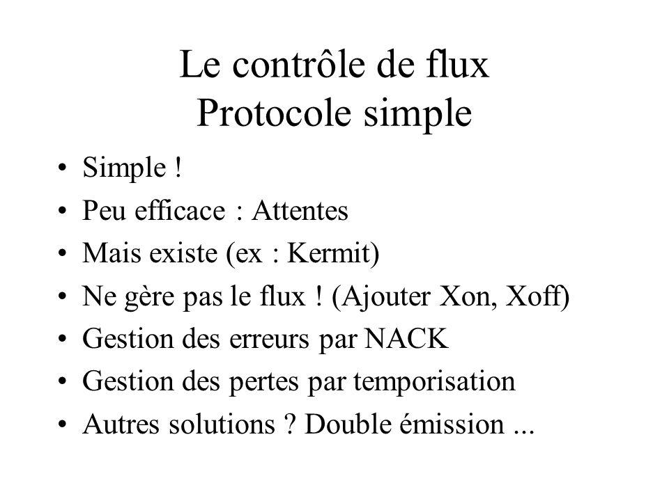 Simple ! Peu efficace : Attentes Mais existe (ex : Kermit) Ne gère pas le flux ! (Ajouter Xon, Xoff) Gestion des erreurs par NACK Gestion des pertes p