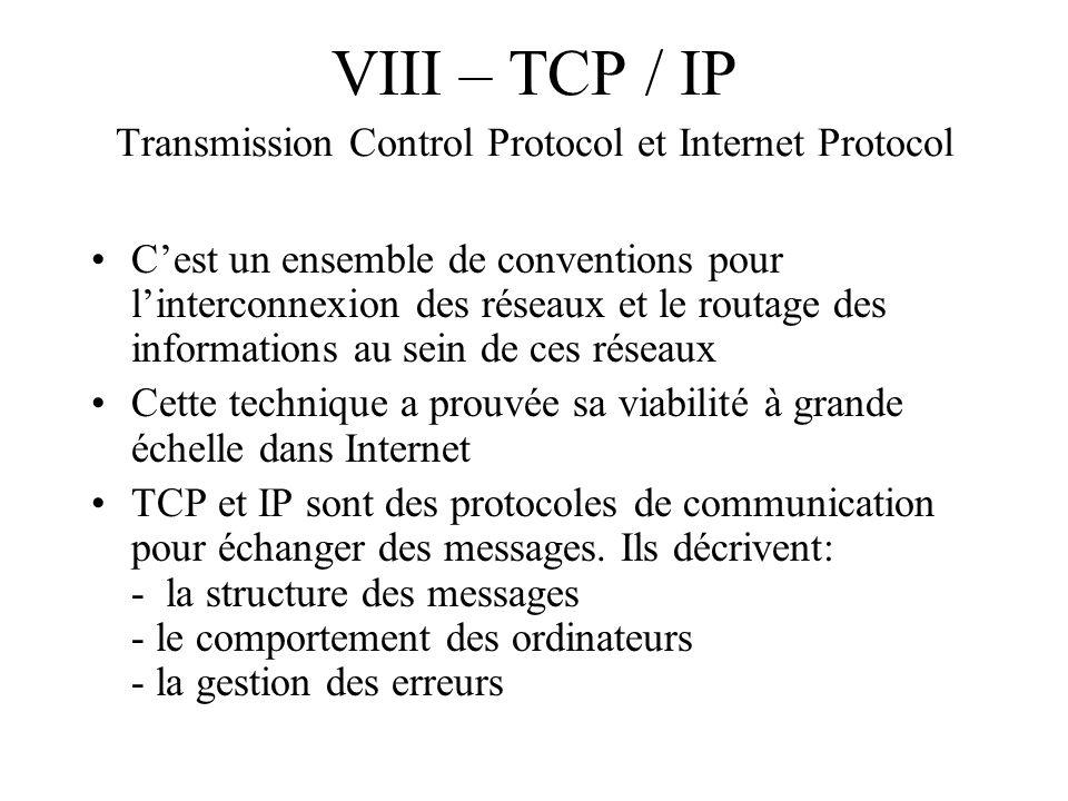 VIII – TCP / IP Transmission Control Protocol et Internet Protocol Cest un ensemble de conventions pour linterconnexion des réseaux et le routage des